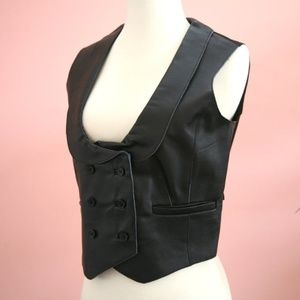 Size 6 Black Leather Double Breasted Collared Vest